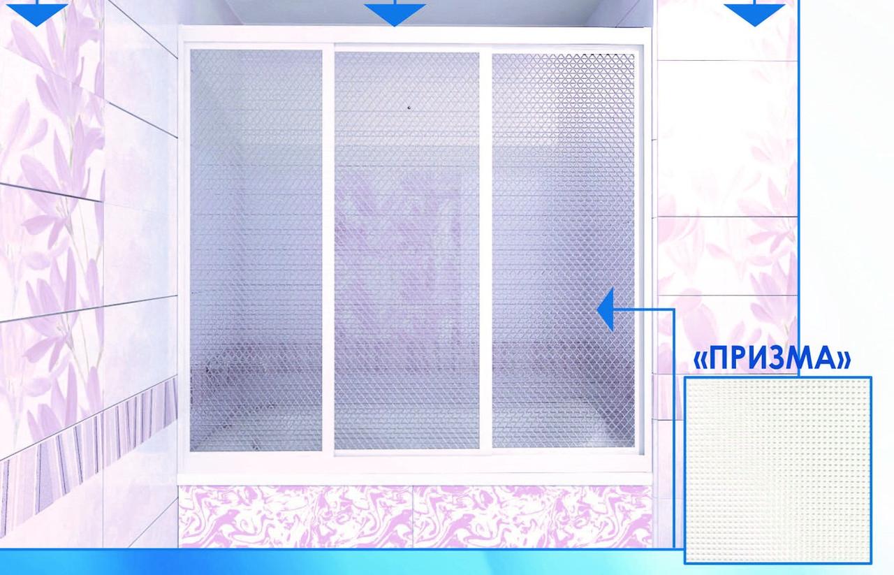 Шторка на ванну МЕТАКАМ Классик 3-створная, раздвижная