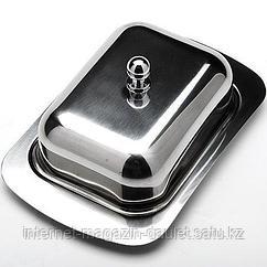 Маслёнка со стальной крышкой 18х12х7 см (нерж.сталь)