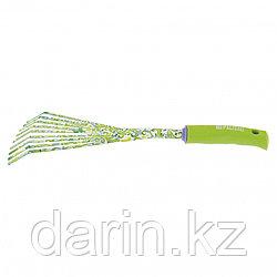Грабли веерные 9 - зубые, 75 х 385 мм, стальные, пластиковая рукоятка, Flower Green, Palisad