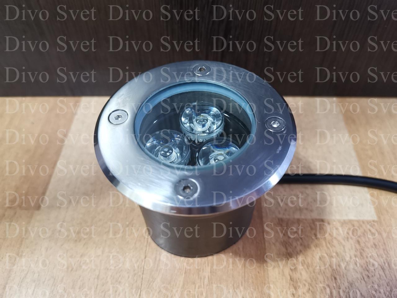 LED грунтовый встраиваемый светильник уличный 3w. Подземный, тротуарный, ландшафтный, архитектурный светильник