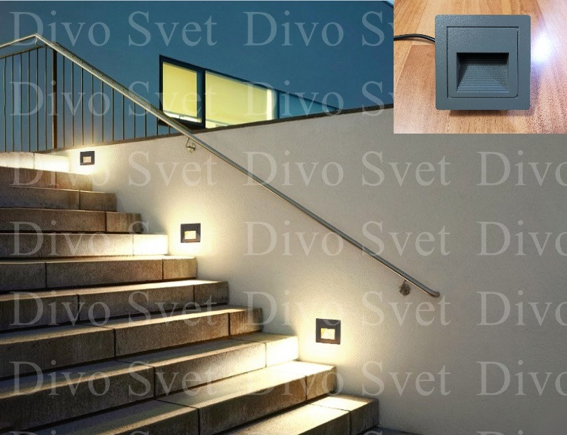LED светильник фасадный для подсветки стен и ступеней 2w. Архитектурные светильники уличные, встраиваемые.
