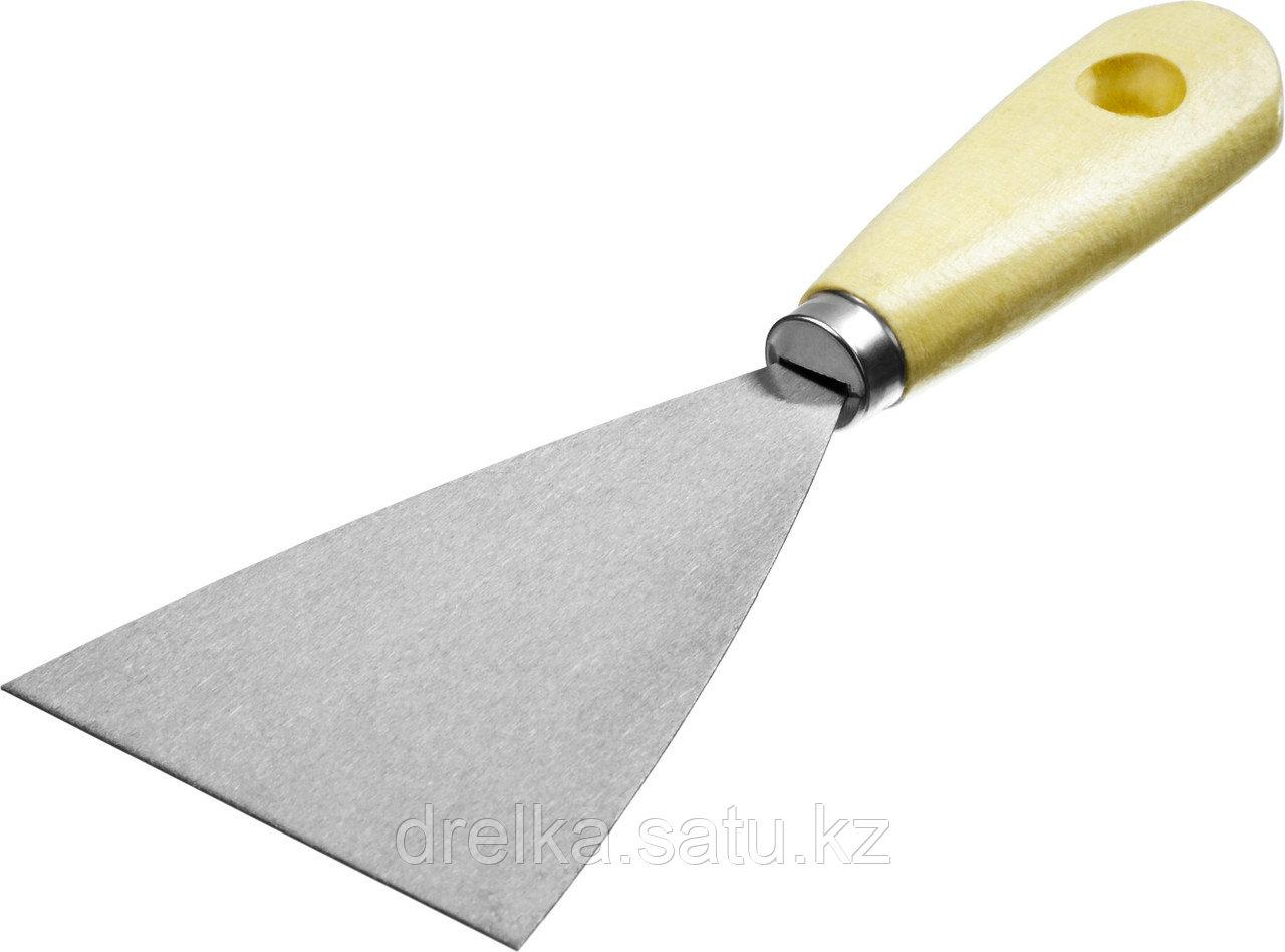 Шпатель стальной 80 мм, деревянная ручка, MIRAX