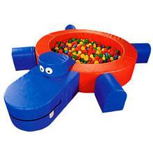 Сухой бассейн «Бегемот» круглый, разборный, с модулем ступенька и горка объем: 0,7 м3