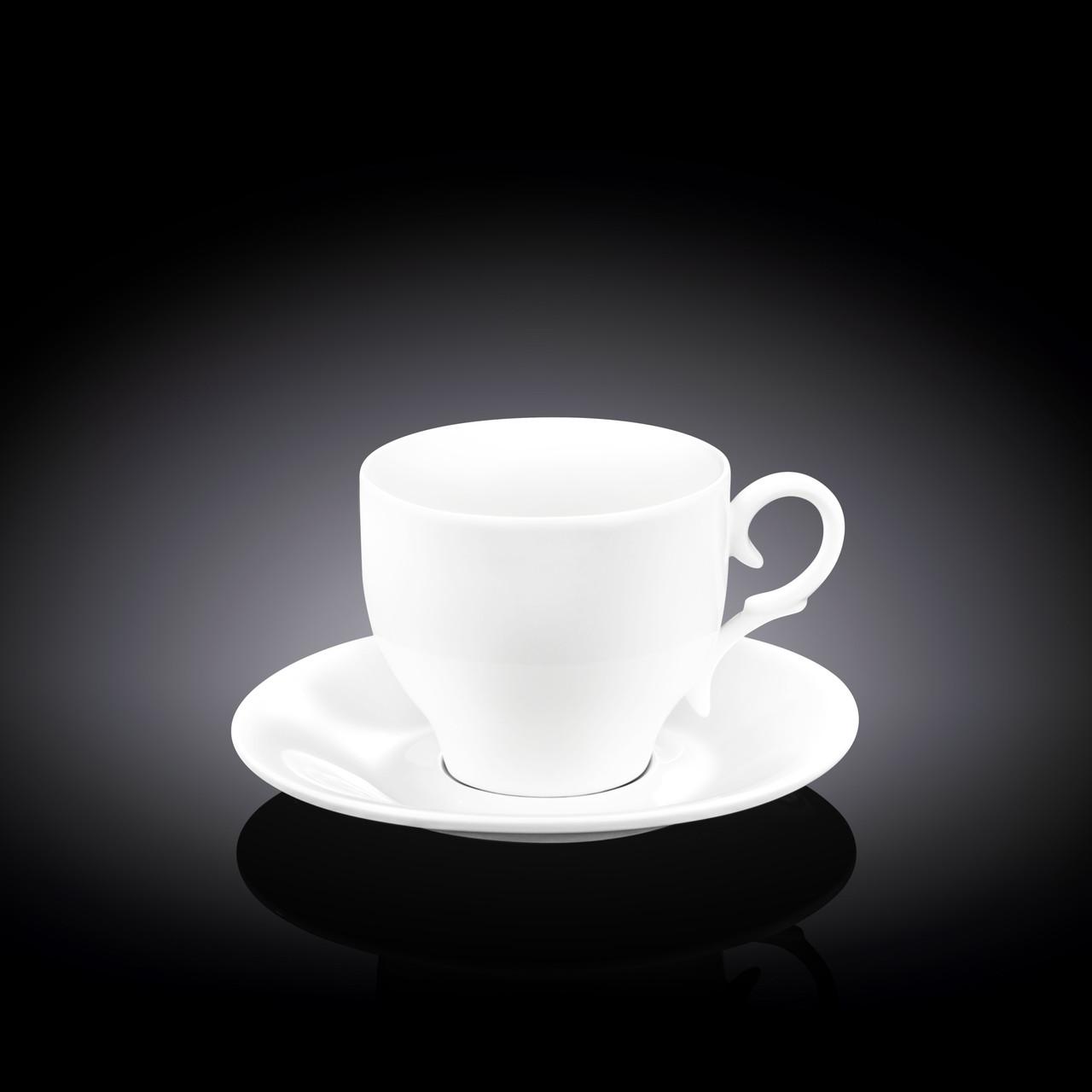 Набор: чайная чашка и блюдце Wilmax 220 мл 6 пар (фирменная коробка)