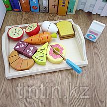 Деревянные продукты на липучке. Набор из 10 предметов, фото 2
