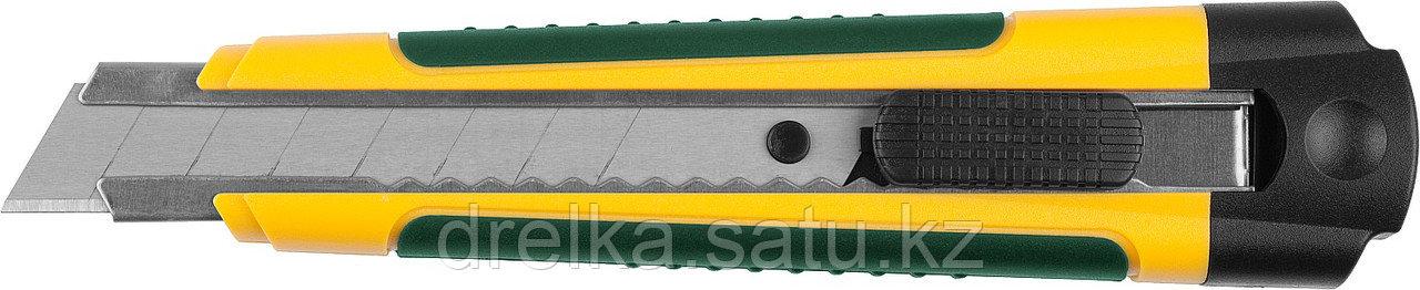 Нож с сегментированным лезвием, KRAFTOOL, двухкомп корпус, автостоп, отсек для хранения запасных лезвий, 18 мм