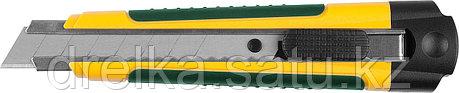 Нож с сегментированным лезвием, KRAFTOOL, двухкомп корпус, автостоп, отсек для хранения запасных лезвий, 18 мм, фото 2