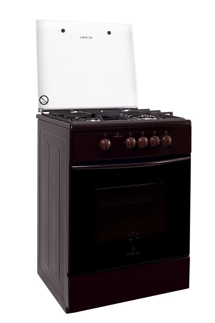 Плита газовая Greta 600 16 (чугуная решетка) с турбогорелкой (коричневая)