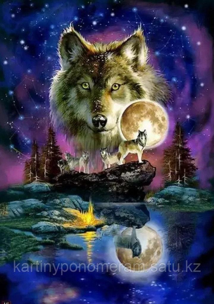 """Картина по номерам """"Волк и луна"""""""