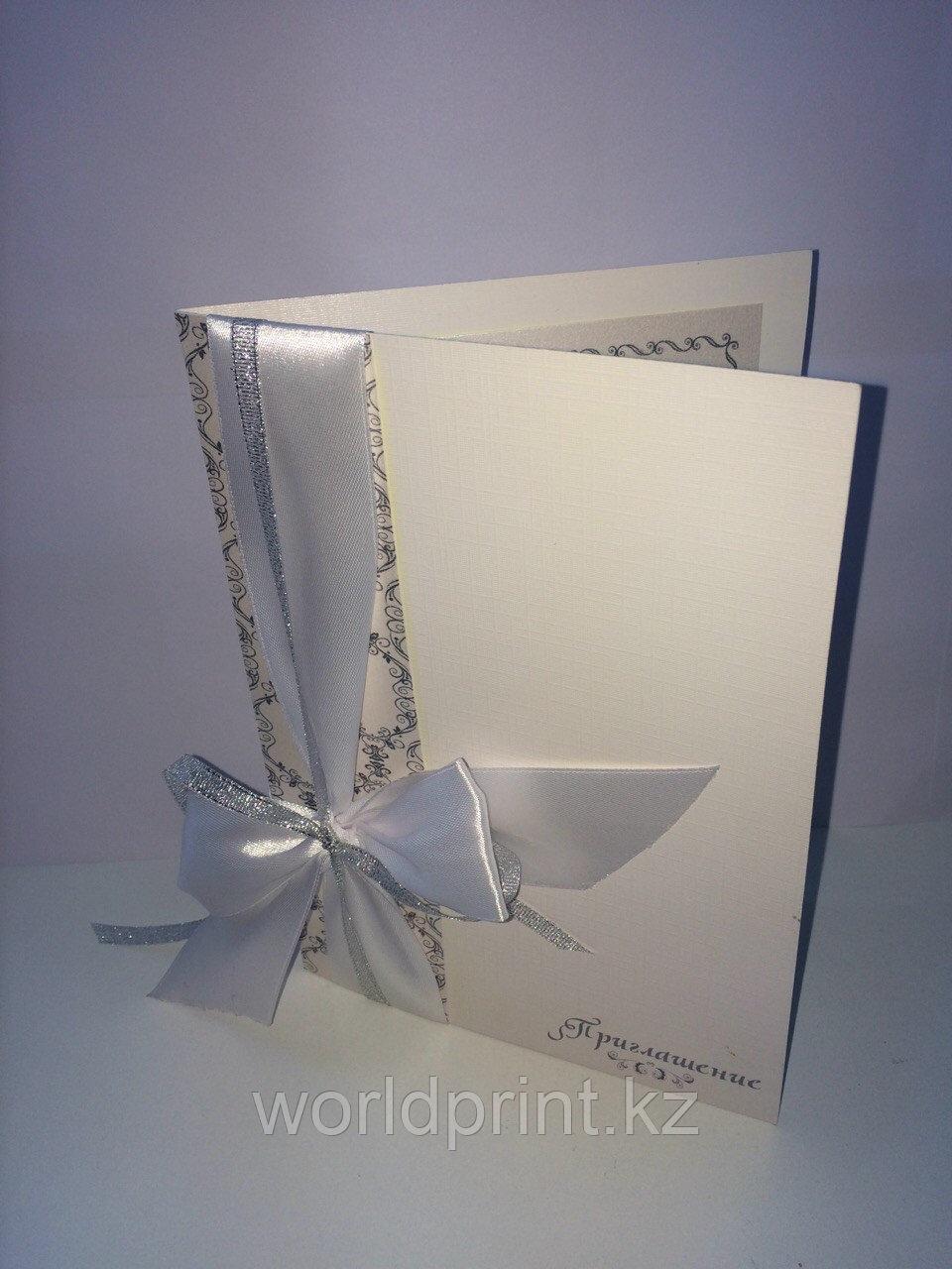 Свадебные пригласительные с двойным бантиком