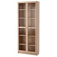 Шкаф книжный со стеклянной дверью БИЛЛИ дубовый шпон ИКЕА, IKEA , фото 1