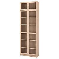 Стеллаж стеклян дверцы БИЛЛИ/ОКСБЕРГ дубовый шпон ИКЕА, IKEA , фото 1