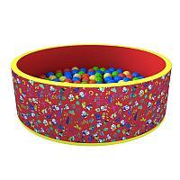 Сухой бассейн «Веселая поляна» 100 шариков (красный), фото 1