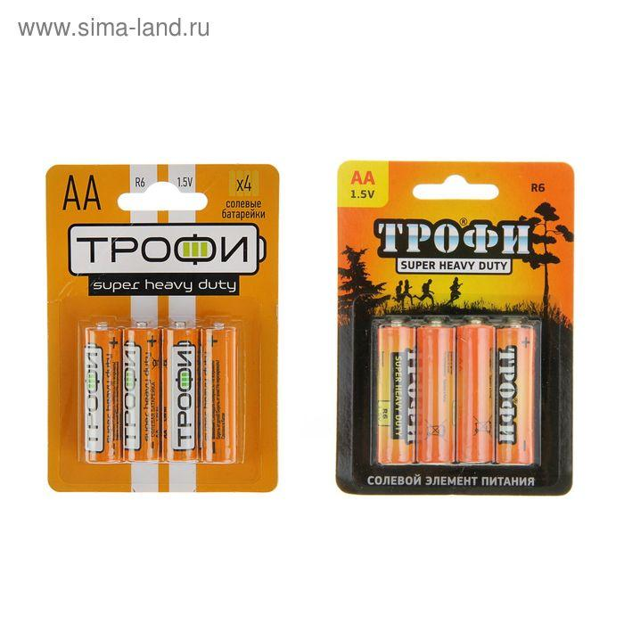 "Батарейка солевая ""Трофи"" Super Heavy Duty, АА, R6-4BL, 1.5В, блистер, 4 шт."