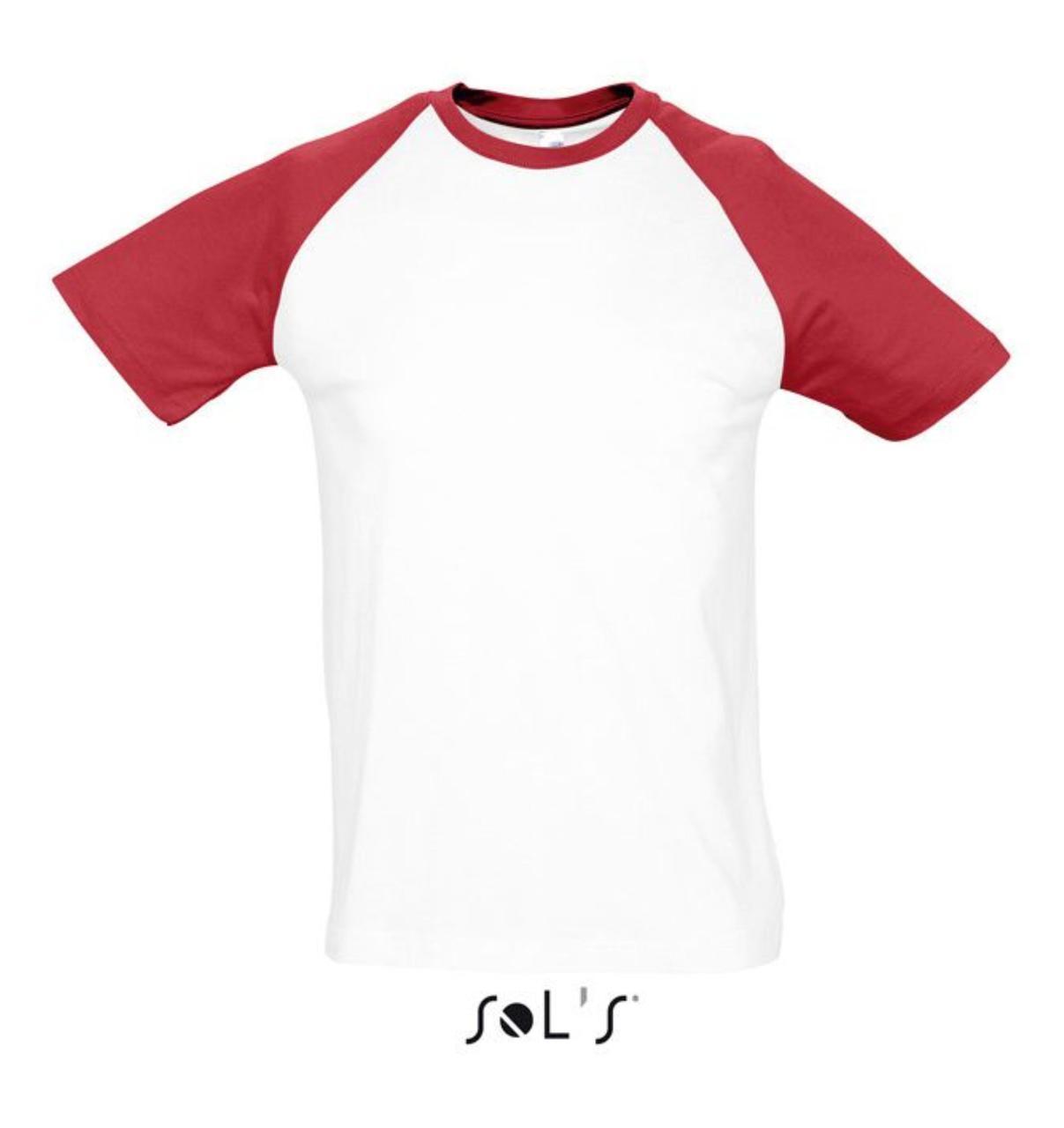Футболка двухцветная FUNKY. Цвет белый/красный с рукавами реглан. 100% хлопок , размер L