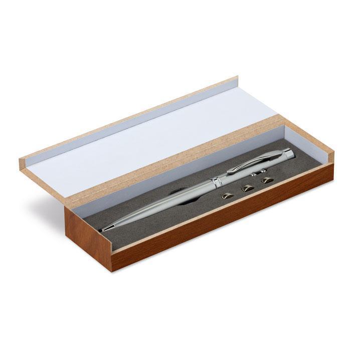 Ручка. Упакован в деревянную коробку. Цвет серый