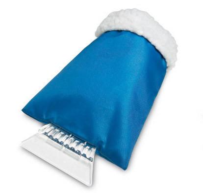 Пластиковый скребок для лобового стекла с теплой варежкой. Цвет Синий.