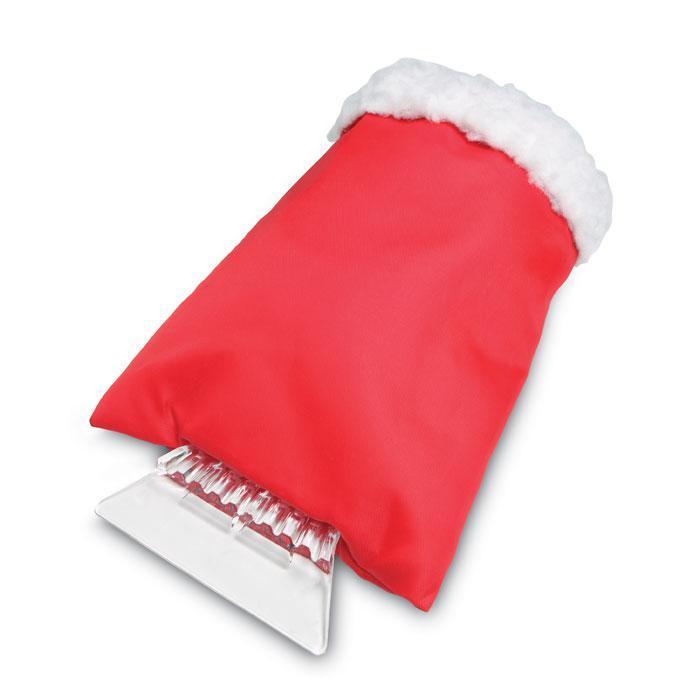 Пластиковый скребок для лобового стекла с теплой варежкой. Красный.