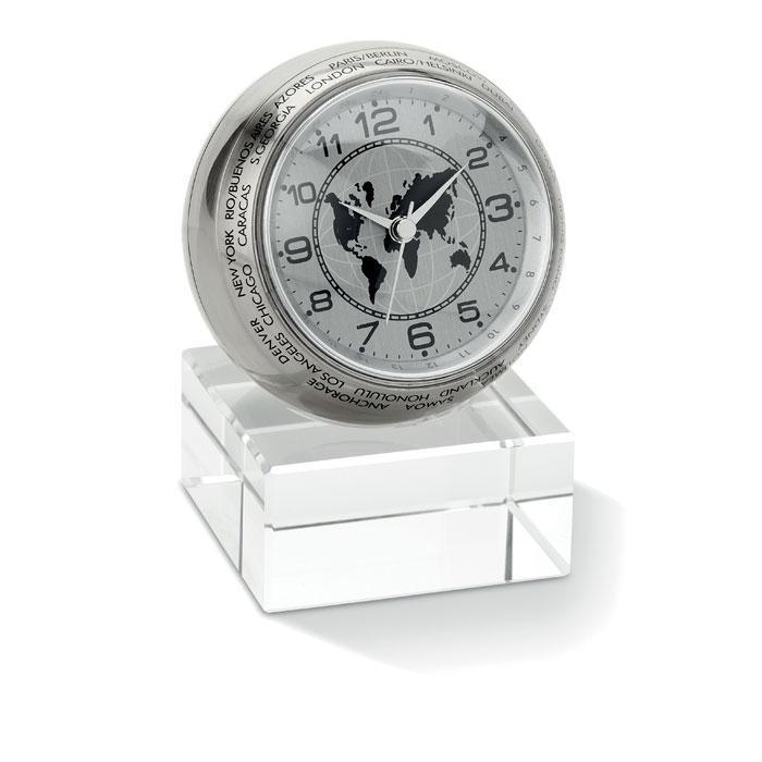 Настольные часы в виде глобуса на стеклянной подставке