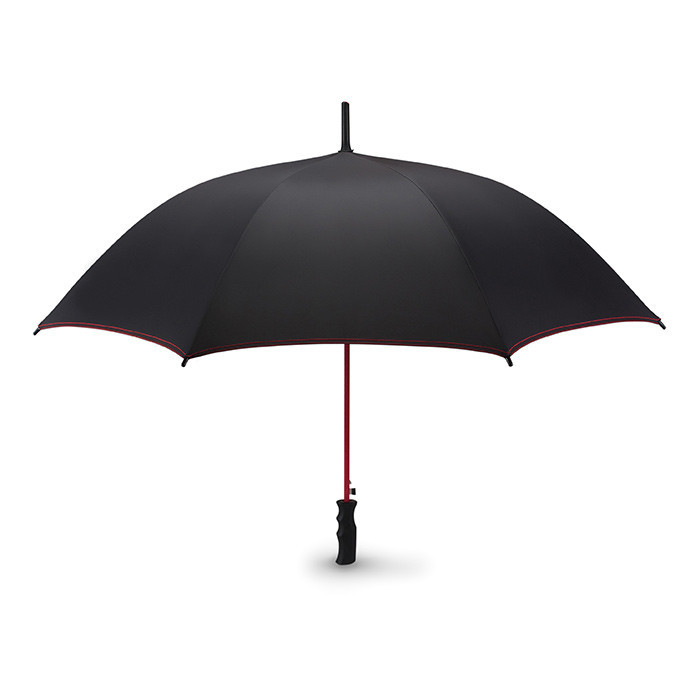 Зонт полуавтомат устойчивый к ветру со стержнем из стекловолокна и черной пластиковой ручкой