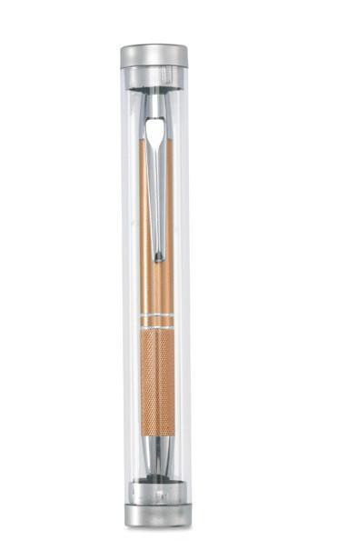 Металлическая хромированная шариковая ручка в пластиковом тубусе