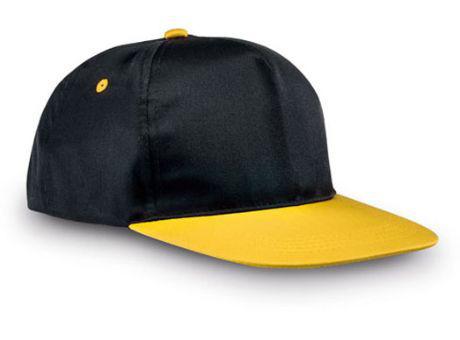 Бейсболка с прямым козырьком.Цвет желтый с черным