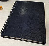 Блокнот на пружине А5, цвет черный , линованные страницы