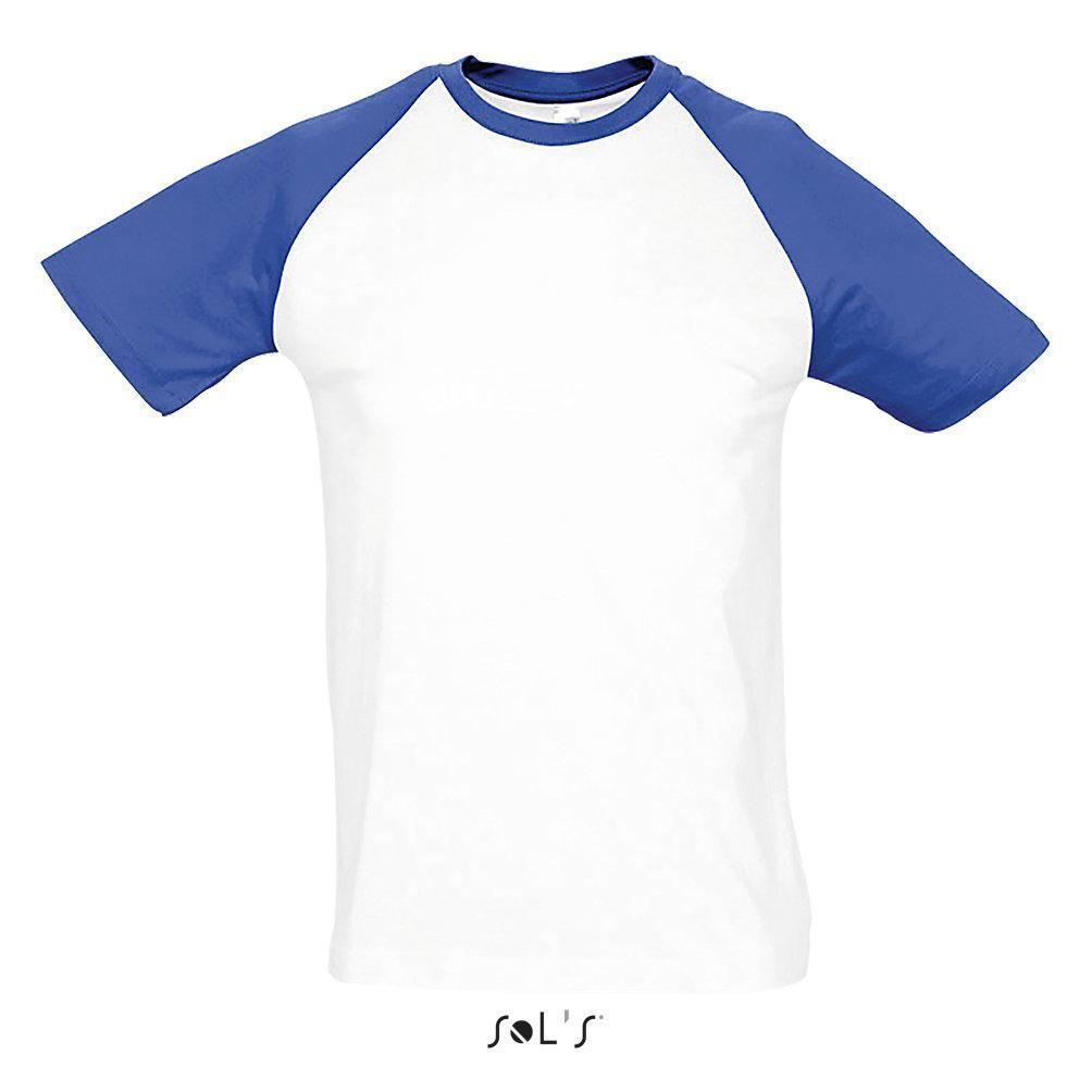 Футболка двухцветная  FUNKY, цвет белый/синий с рукавом реглан, 100% хлопок. Размер S