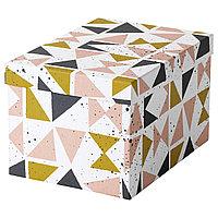 Коробка с крышкой ТЬЕНА черный, розовый ИКЕА, IKEA , фото 1