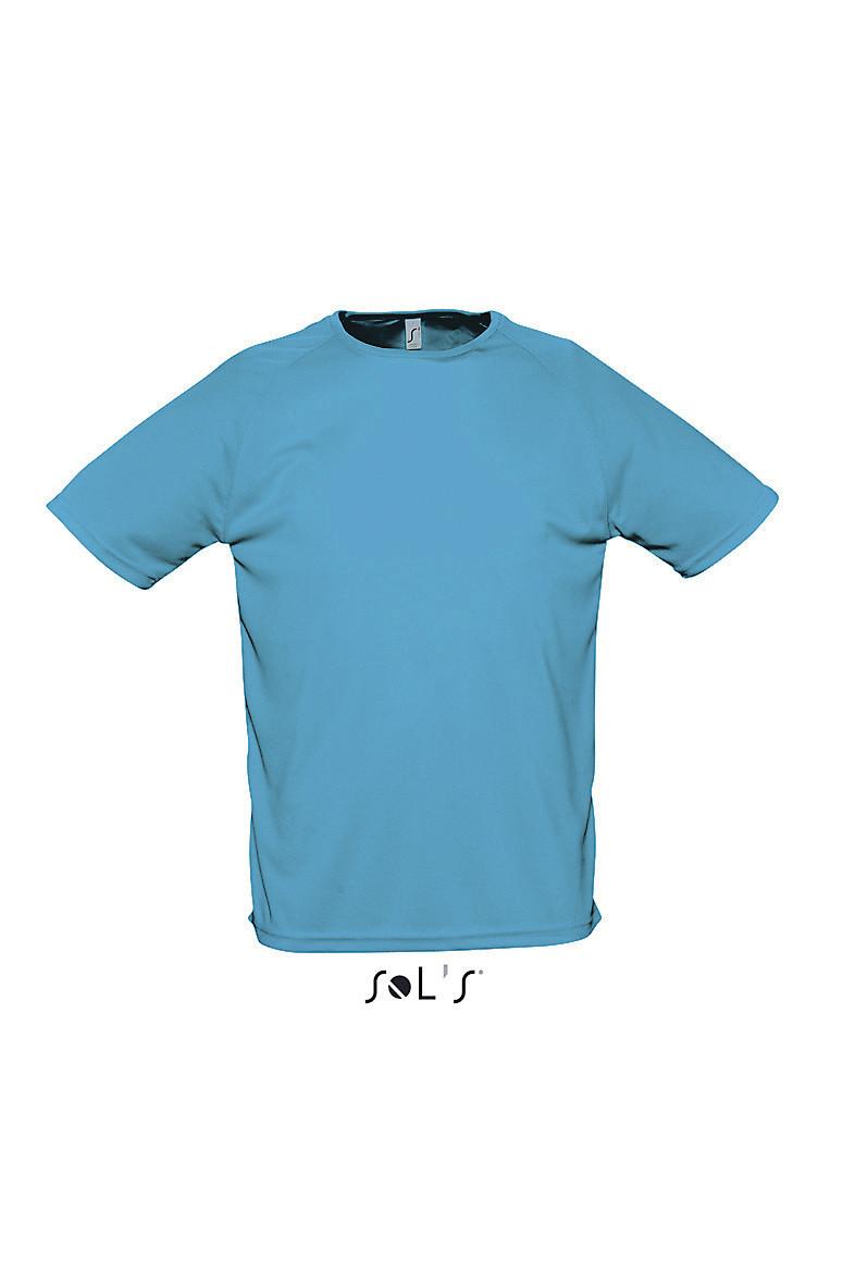 Мужская футболка SOL'S SPORTY. Цвет голубой. Размер S