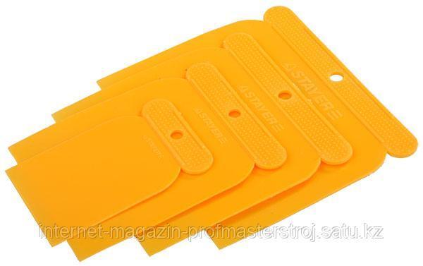 Шпатели «поверхностные» (японские) в наборах 4 шт. 50, 80, 100, 120 мм, пластмассовые, STAYER
