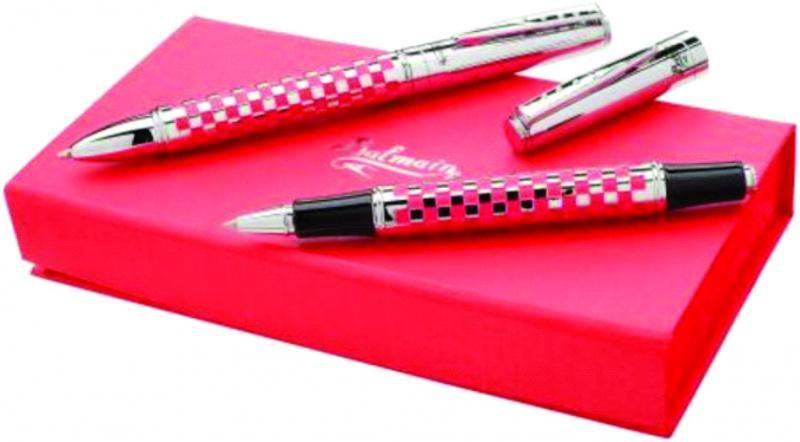"""Набор ручек """"Courchevel"""". Ручки шариковая и роллер в подарочной коробке. Металл. Цвет  красный"""