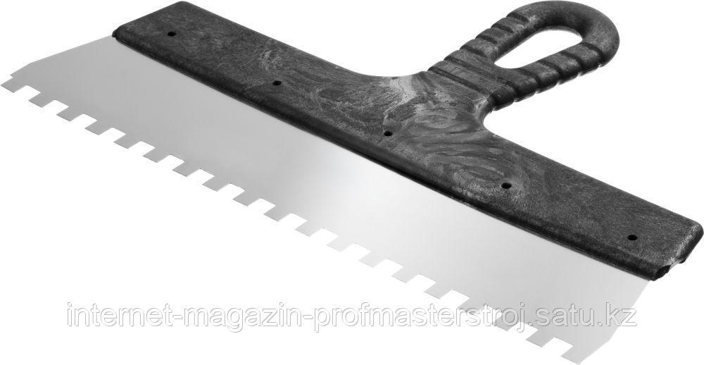 Шпатель зубчатый зуб 8 х 8 мм, 300 мм, СИБИН