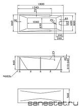 Акриловая ванна Рагуза 180х80 см с гидромассажем. Джакузи.(Общий массаж + спина + ноги), фото 2