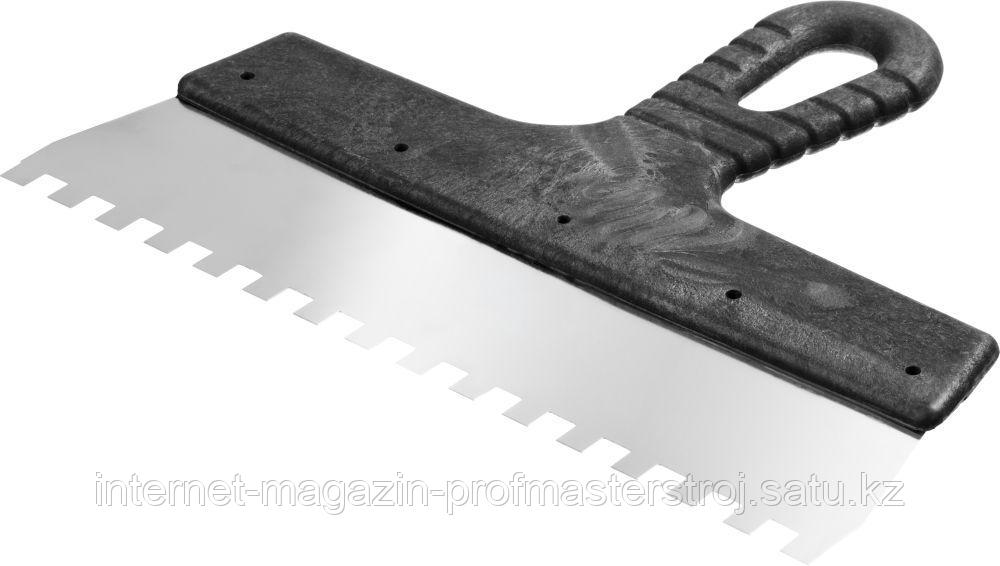 Шпатель зубчатый зуб 8 x 8 мм, 250 мм, СИБИН