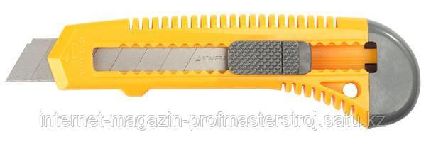 Нож с сегментированным лезвием, 18 мм, корпус с автофиксатором лезвия, серия STANDARD, STAYER