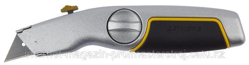 Нож трапециевидным лезвием, c металлическим обрезиненным корпусом, серия MASTER, STAYER