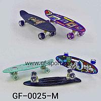 "Пенни борд 22 ""Penny board"" со светящимися колёсами и рисунком на доске 0025-М"