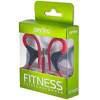 Наушники Perfeo FITNESS внутриканальные, красные/чёрные, с креплением за ухом спортивные
