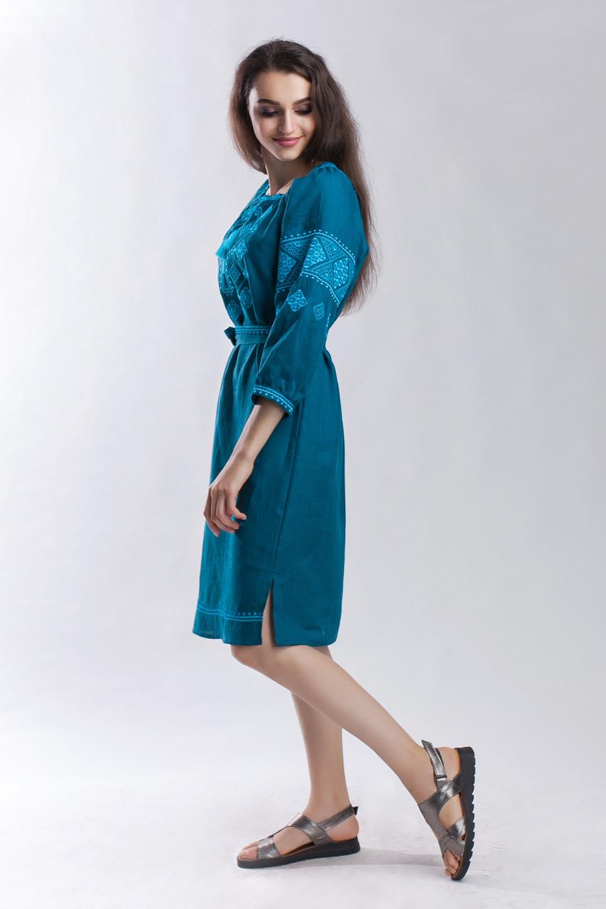 Платье Окошко зеленый лен - фото 3
