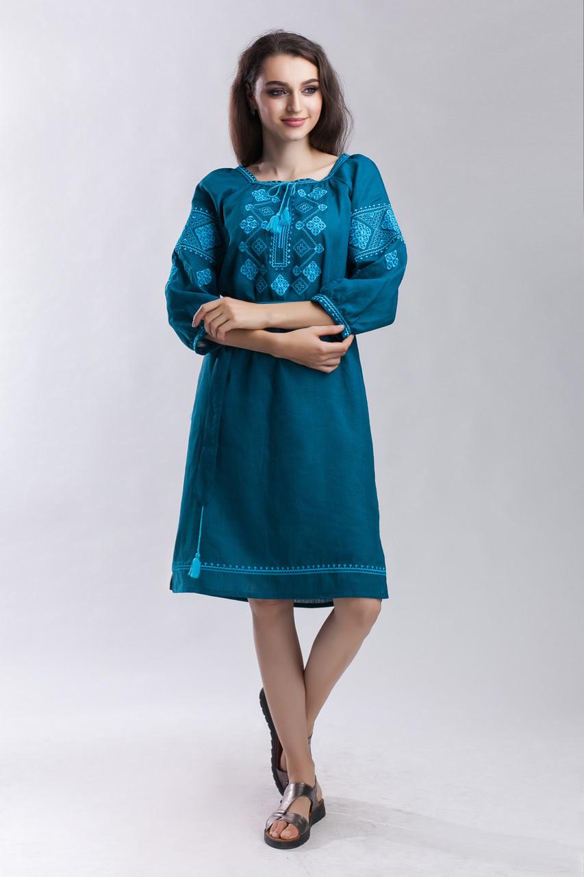 Платье Окошко зеленый лен - фото 4