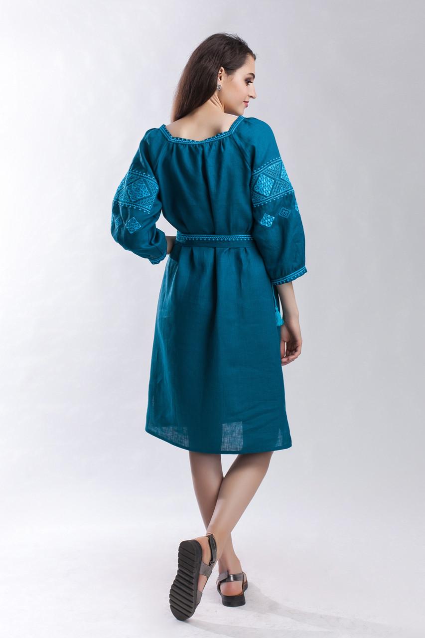 Платье Окошко зеленый лен - фото 5