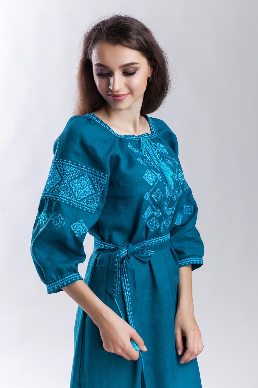 Платье Окошко зеленый лен - фото 1