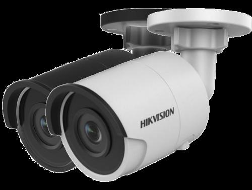 DS-2CD2055FWD-I - 5MP Уличная цилиндрическая IP-камера с ИК-подсветкой на кронштейне.