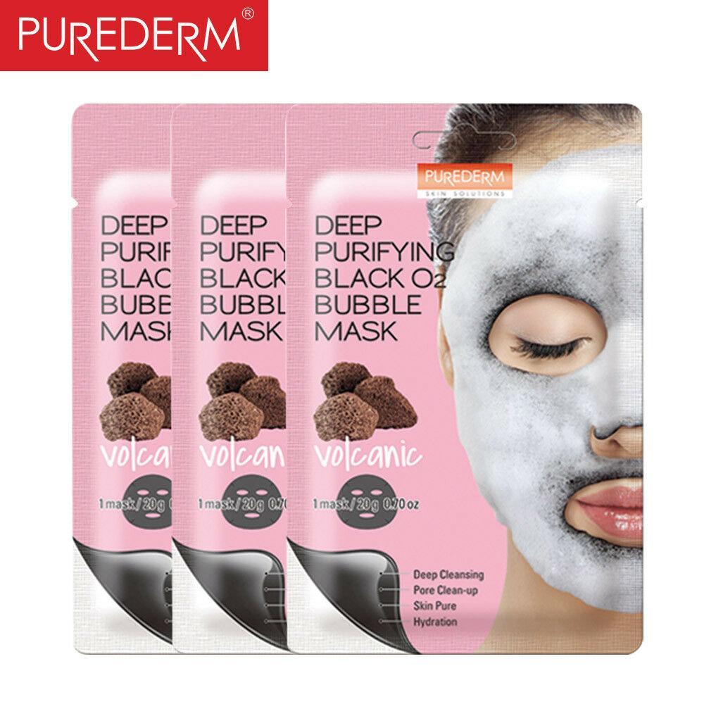 Тканевая маска для лица Purederm Deep Purifying Black O2 Bubble Mask Volcanic (вулканическая)