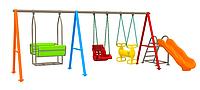 """Детский игровой комплекс """"Нодди"""", три вида качель, качеля лодочка, большое кресло, лошадь двусторонняя"""