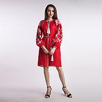 Платье Окошко - 2, красный лен, белая вышивка