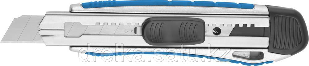 """Нож ЗУБР """"ЭКСПЕРТ"""" с сегментированным лезвием, метал обрезин корпус, автостоп, допфиксатор, 18 мм"""