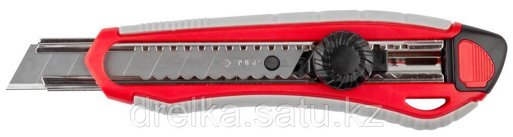 """Нож ЗУБР """"МАСТЕР"""" с сегментированным лезвием, двухкомпонентный корпус, механический фиксатор, сталь У8А, 18мм"""