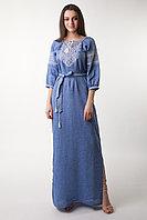 Платье Твори мир, лён джинс, белая вышивка, короткий рукав